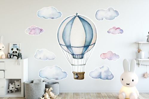 Contour cut stickers Watercolor set with hot air balloon and clouds