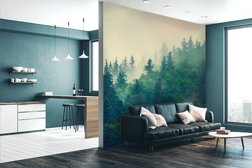 Wall murals forest in fog
