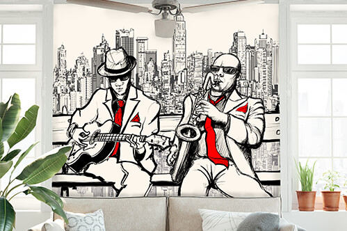 Wall stickers Two jazz men playing in New York