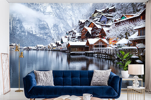 Self-adhesive wall murals Hallstat village in the Austria.