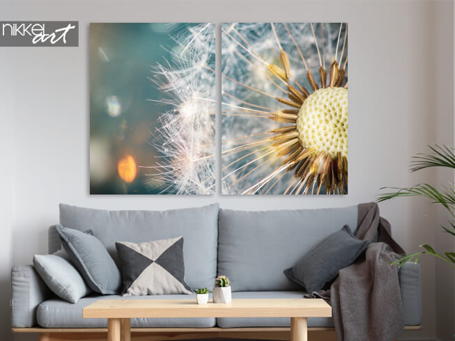 Brushed aluminium prints close up of a dandelion