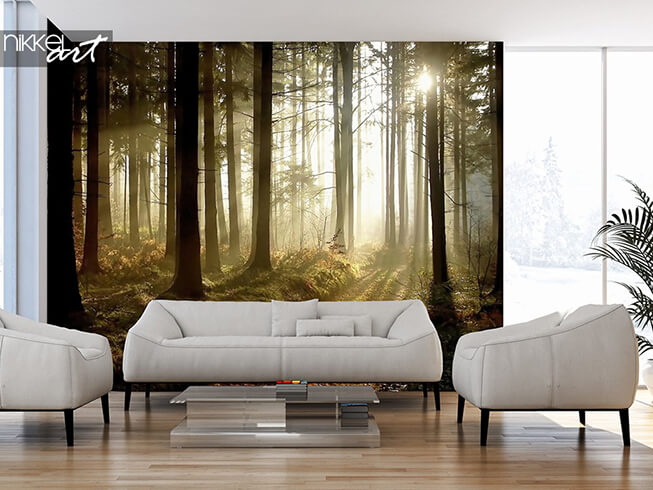 Self-adhesive wall mural forest