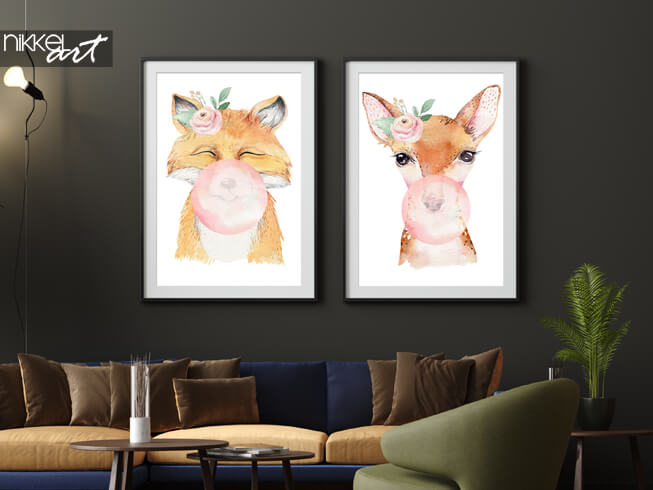 Framed posters Watercolor animals