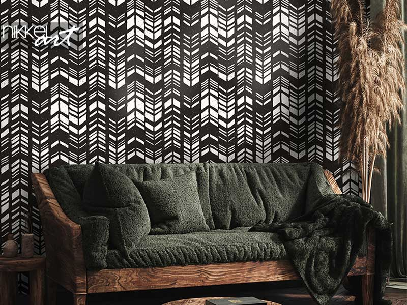 Wallpapers Seamless hand drawn style chevron pattern in black and white