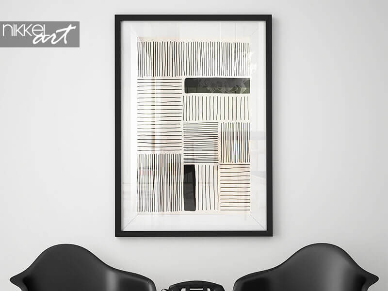 Framed poster Trendy abstract creative minimalist artistic hand drawn composition