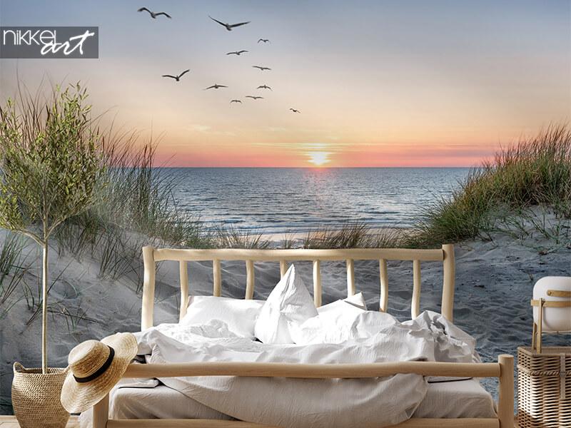 Wall mural beach at sunset