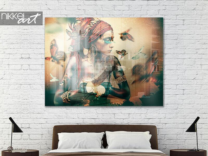Acrylic prints Jaime Ibarra - Woman with butterflies