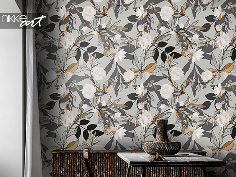 Wallpapers Seamless pattern with white roses and grey leaves
