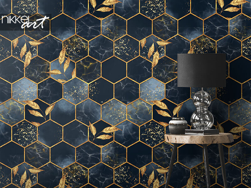 Wallpapers Marble hexagon seamless texture with golden leaves