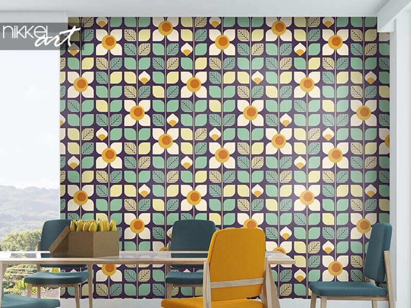 Wallpapers seamless geometric retro pattern with leaves and flowers
