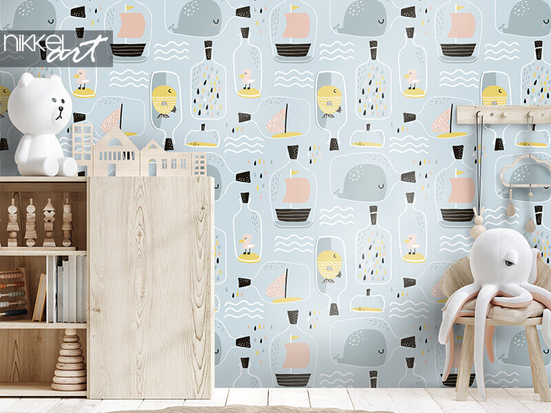 Wallpapers Seamless pattern with hand drawn sea jar with marine elements
