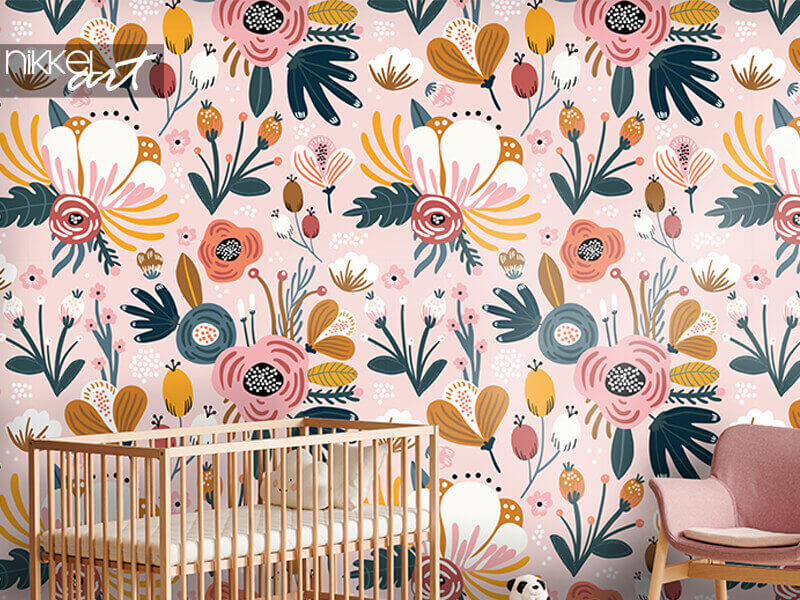Wallpapers Seamless pattern with flowers, berries and leaves