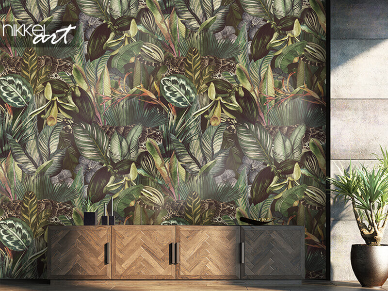 Wallpapers Tropical pattern with clouded leopard and tropical flowers