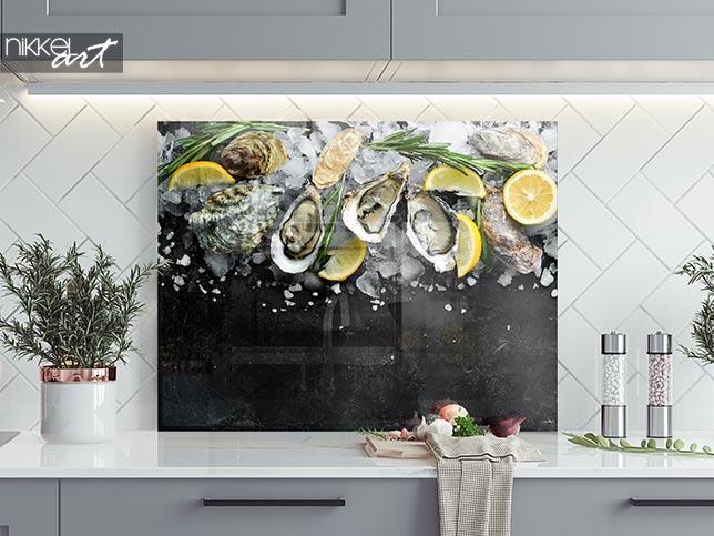 Printed kitchen splashbacks Oyster with lemon on ice