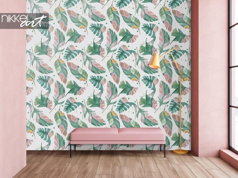 Pimp your interior with watercolor leaf print wallpaper