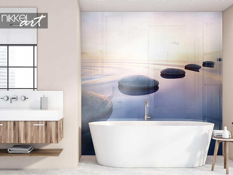 Create a relaxing atmosphere with a bathroom splashback