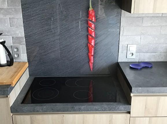 Kitchen back splash with a chili pepper