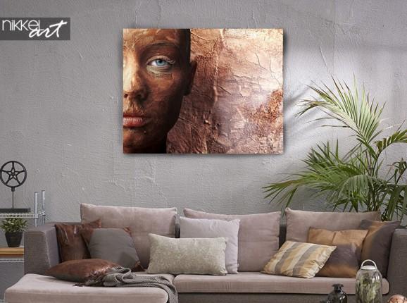 Bronze portrait on canvas