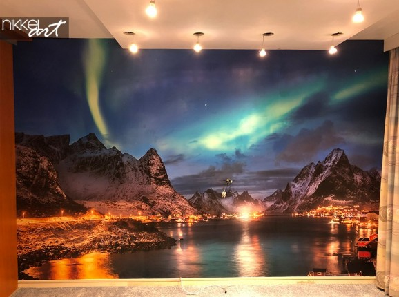 Wall Murals with Northern Lights