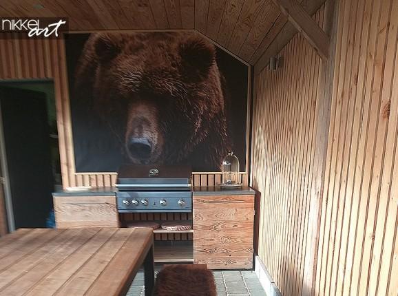 Photo Brown Bear on Garden Poster