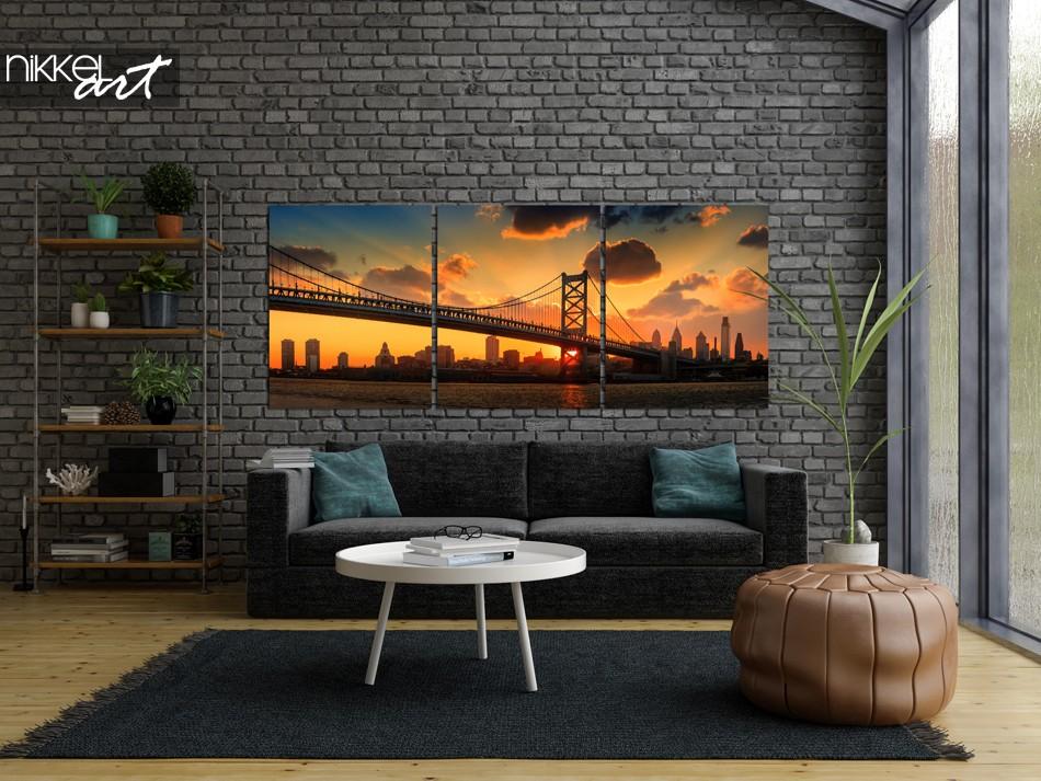 Aluminium Triptych Philadelphia Skyline