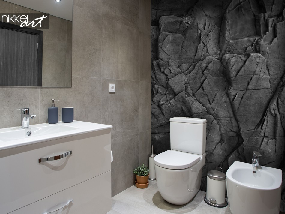 Bathroom with Wall Mural Black Stones