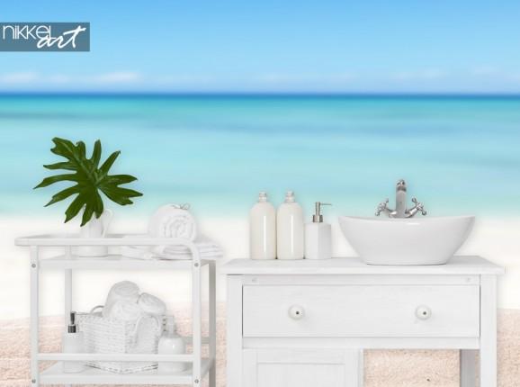 Bathroom with Wall Mural Beach
