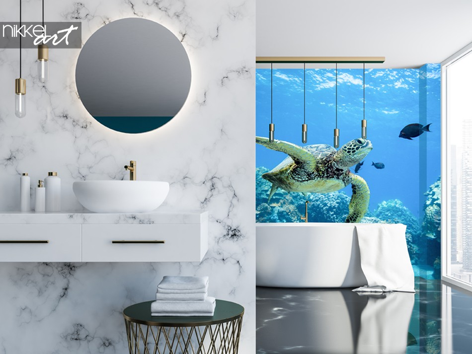 Bathroom with Wall Mural Sea Turtle