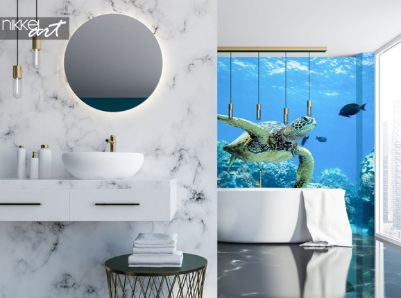 Bathroom with Wall Mural Sea Turtle