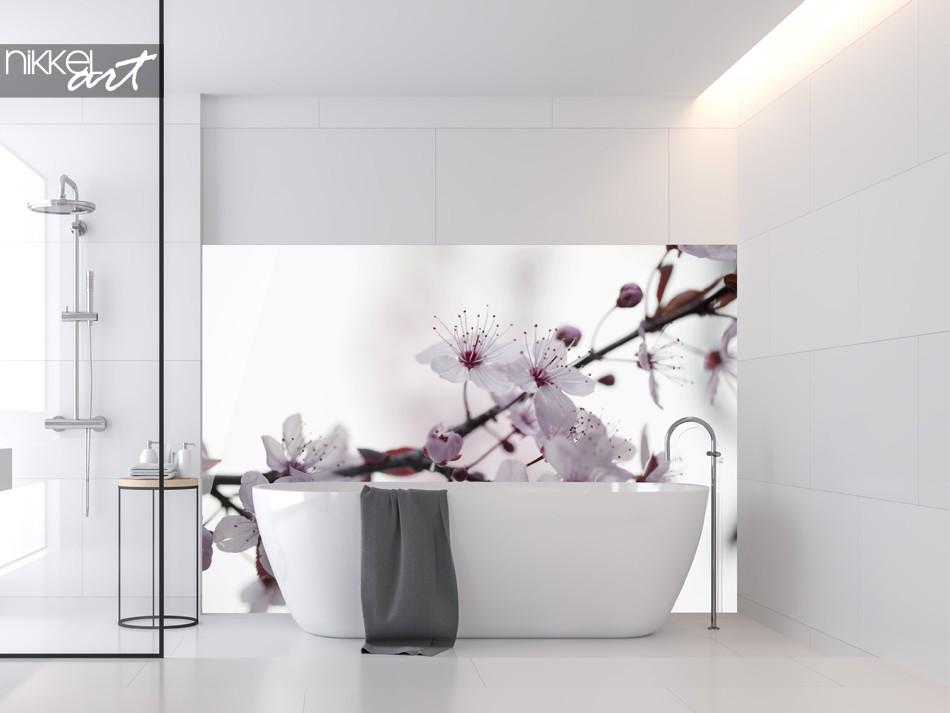 Bathroom With Glass Splashback Cherryblossom
