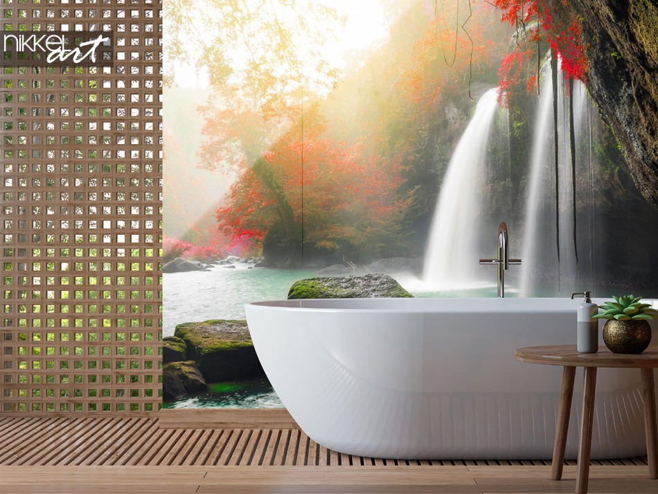Bathroom with Glass Splashback Heo Suwat Waterfall