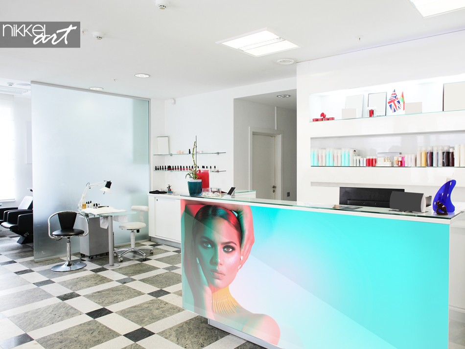 Beautysalon with Photo on Glass at the Counter