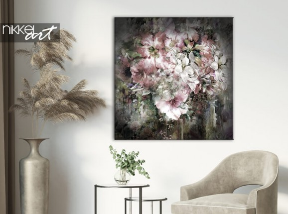Watercolor flowers on canvas