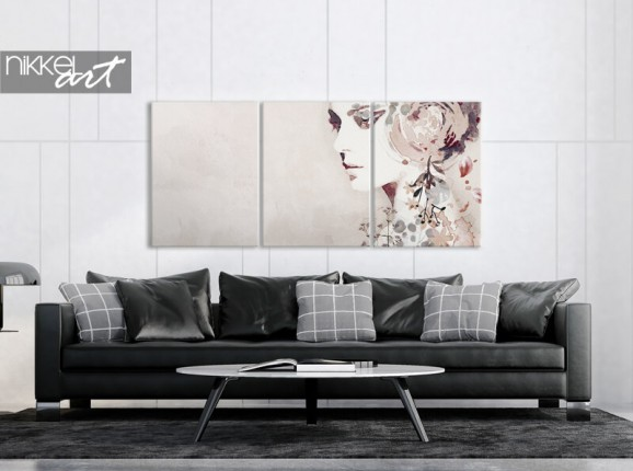 Abstract portrait on a 3-piece canvas