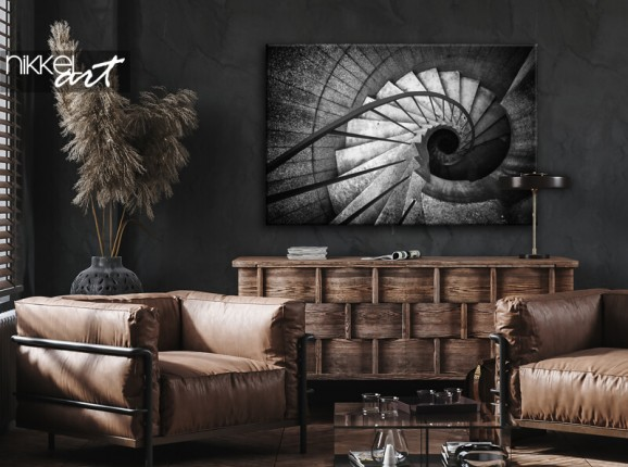 Spiral staircase on canvas
