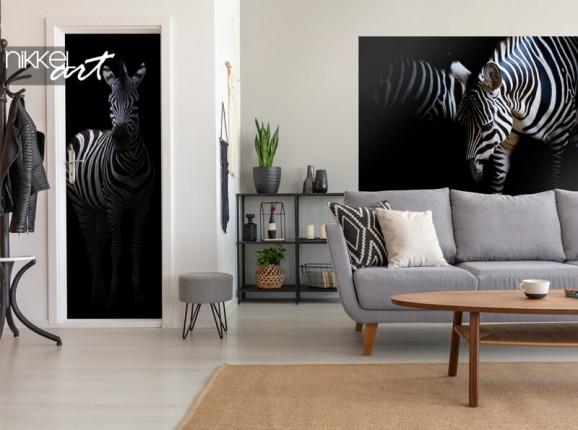 Zebra on door and wall sticker
