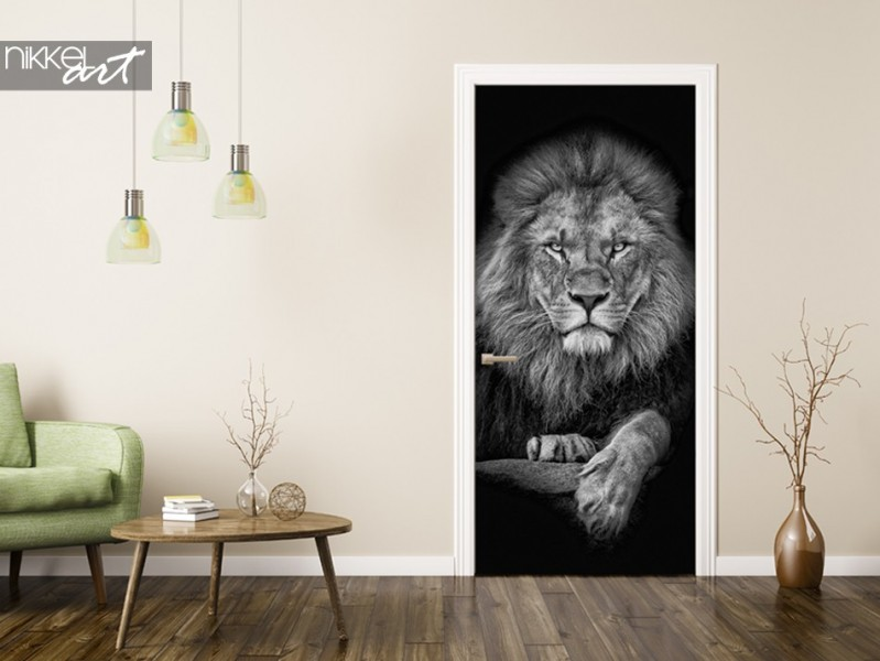 Door sticker with Photo of a Lion
