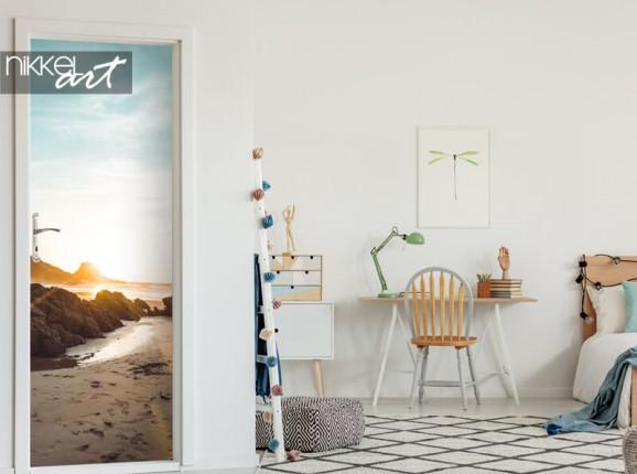 Door sticker with beach