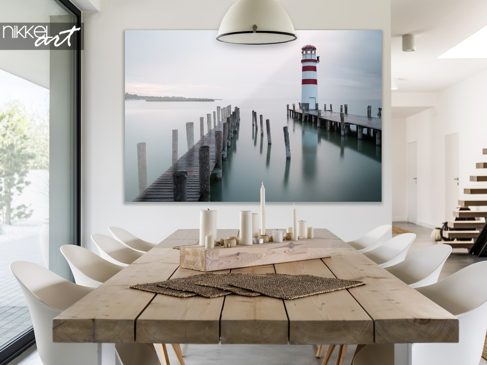 Dining Room with Photo of Traditional Lighthouse on Acrylic