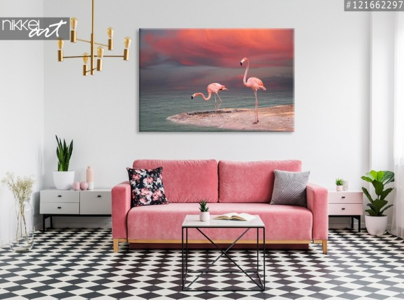 Canvas Prints Pink Flamingos