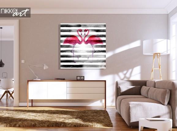 Flamingo painting on plexiglass