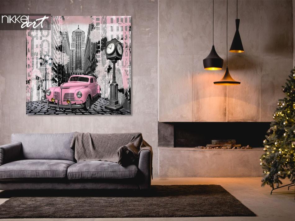 Aluminium Prints Vintage pink auto