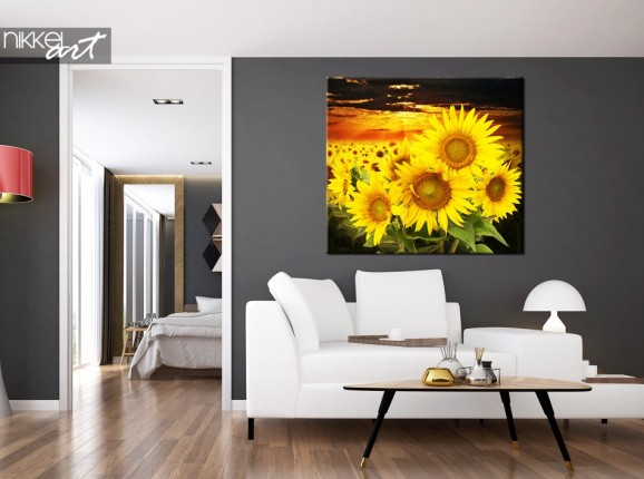 Canvas Prints Beautiful sunflower field at sunset