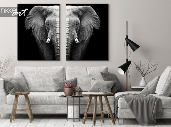 Black & White Elephant on Canvas