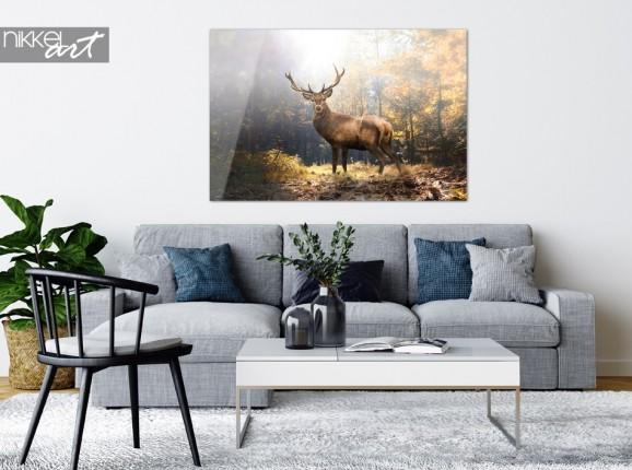 Acrylic Print Deer in Autumn Landscape