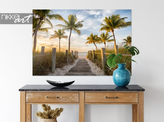 Beach scene on aluminium