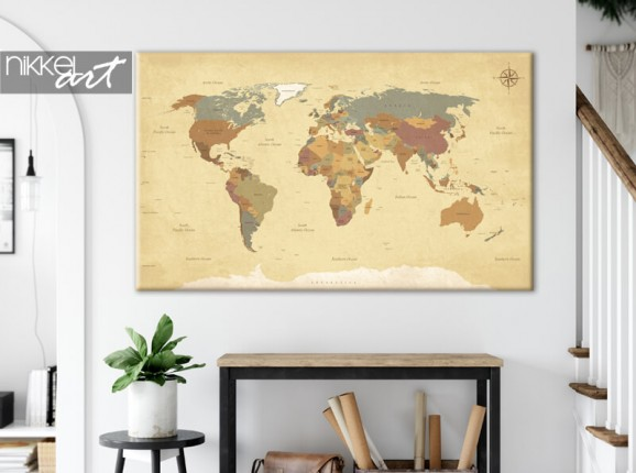 Map of the world on canvas
