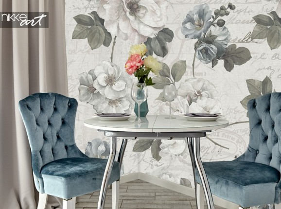 Dining Room Wall Mural with Vintage Flowers
