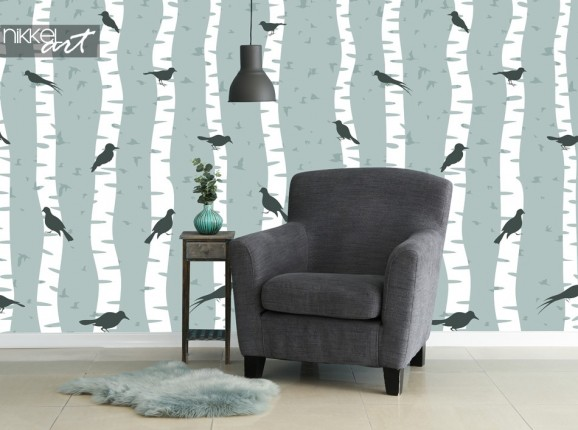 Photo Wallpaper with Bird Print