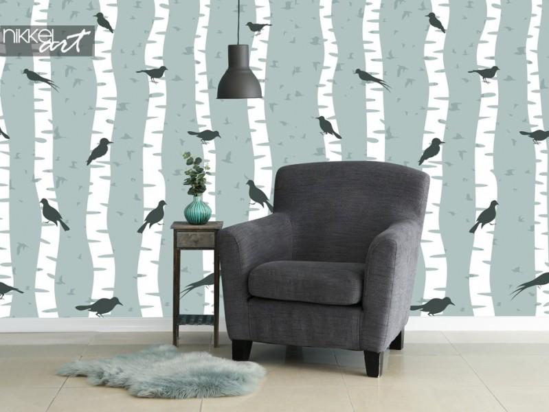 Photo Wallpaper with Bird Print